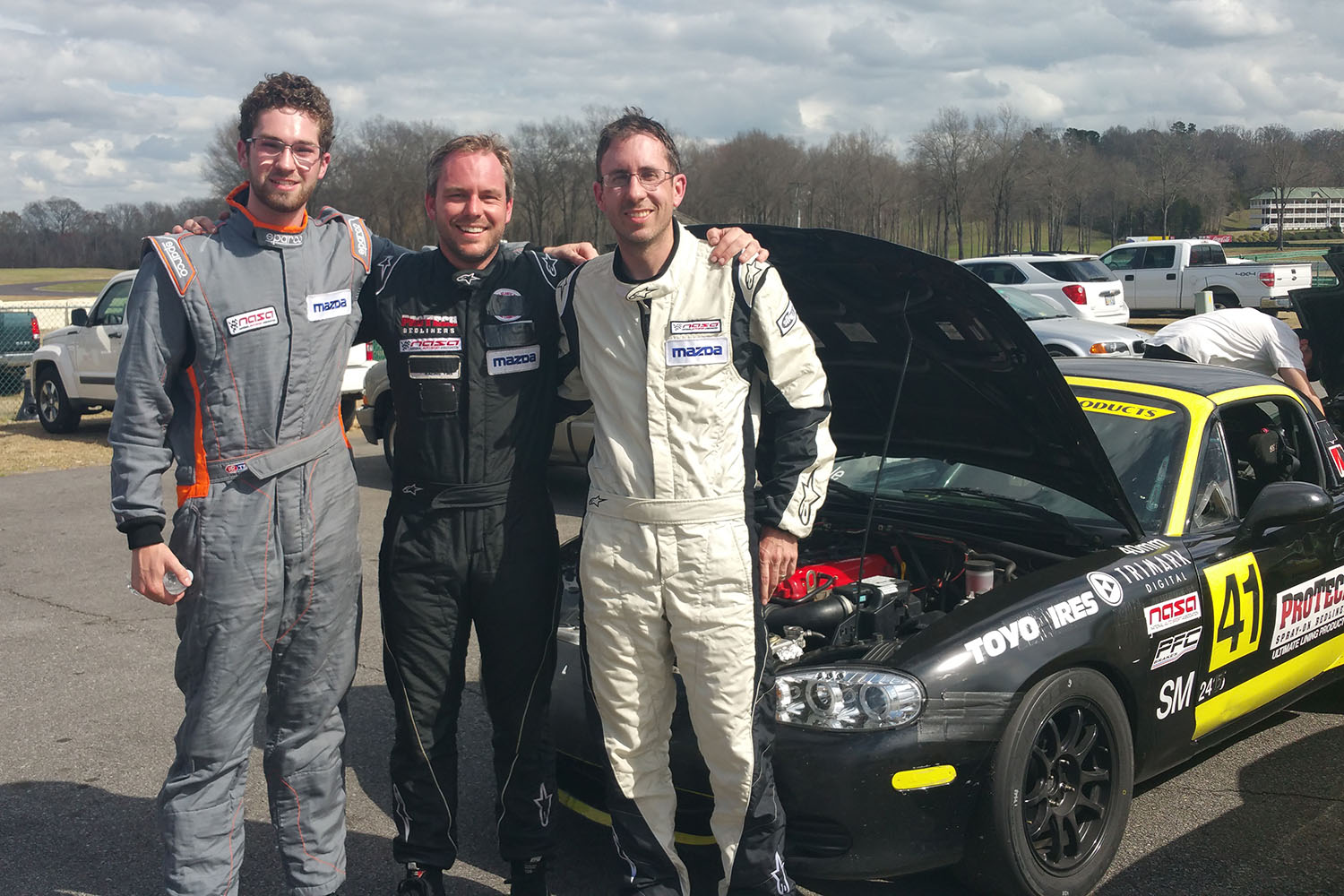 Jason Connole, Brian Henderson and Duncan Ellis podium in Spec Miata at NASA VIR March Madness 2017